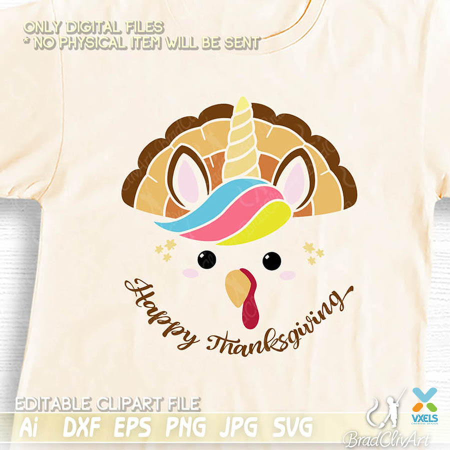 Unicorn Thanksgiving Svg With Turkey Theme For Cutting And Editable Ai File