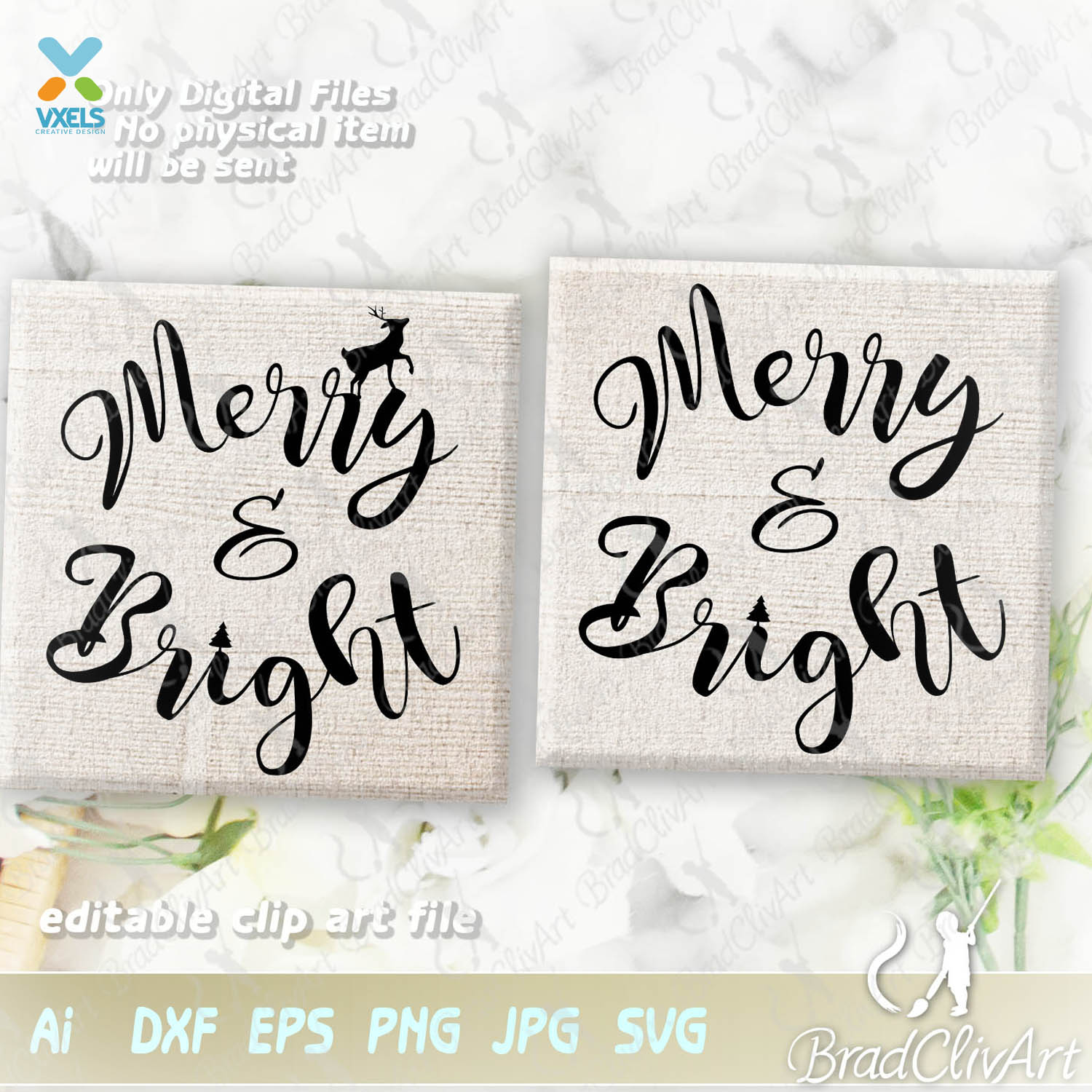Merry And Bright Svg Cut File For Christmas Decor Or Wall Sign
